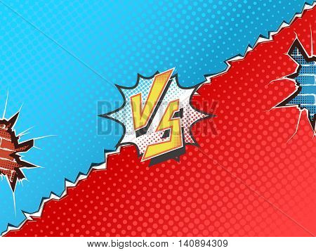 Versus letters fight backgrounds comics book superhero. Vector illustration. Crumbling wall with brick background.