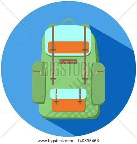 Green backpack flat vector illustration, round sticker or print for backpacker travel, outdoor gear for hiking or trekking trip, stylish khaki green sack, hand luggage icon, outdoor travel backpack