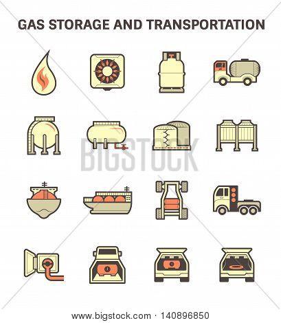 Gas storage and transportation icon set isolated on white background.