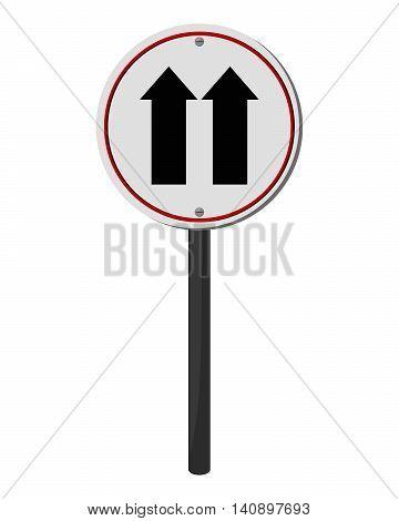 flat design one way traffic sign icon vector illustration
