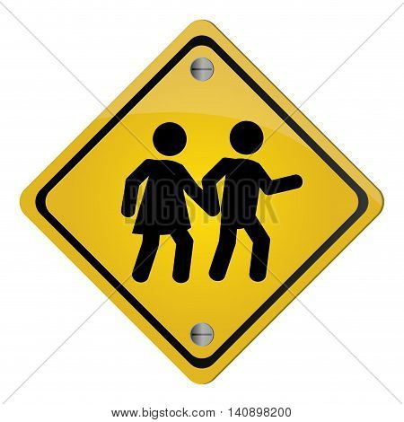 flat design school crossing traffic sign icon vector illustration