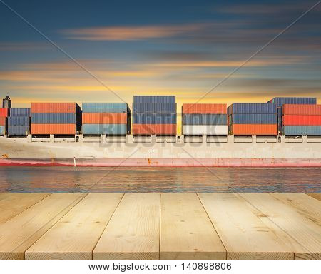 Cargo freight ship and cargo container in sea for logistics and transportation background.