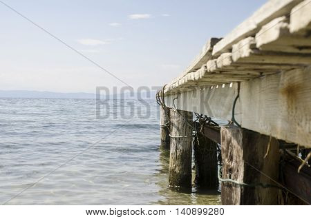 Old wooden pier and silence close up shot