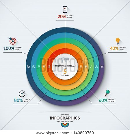 Infographic diagram template with concentric circles. Vector banner with 5 options- 20, 40, 60, 80, 100 percent. Can be used for web design, presentation, graph, chart, report, data visualization