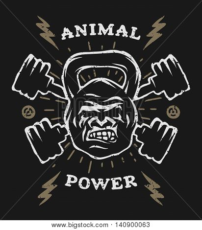 Two barbell and head gorilla weight. Athletic emblem, poster, t shirt design.  For a dark background.