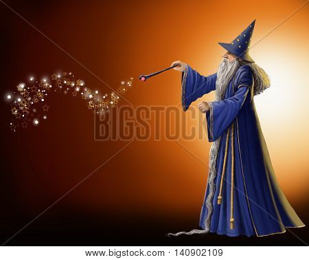Magical wizard waving his magic wand digital illustration.