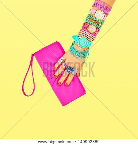 Fashion. Clothes Accessories fashion Set. Female hand Stylish Trendy Handbag clutch Glamor Wrist Watches. Summer fashion girl Outfit Luxury Party accessories.Hipster Essentials.Minimal fashion style