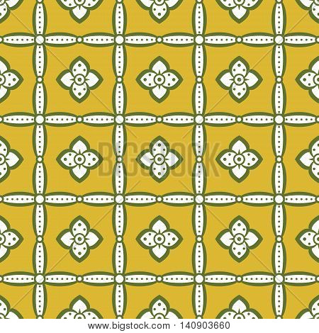 Seamless retro pattern with flowers in mustard, white, green colors. Elegant floral ornament in folk style. Vector illustration for fashion design