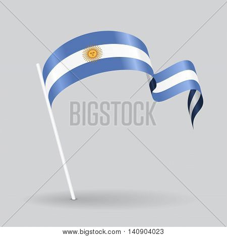 Argentinean pin icon wavy flag. Vector illustration.