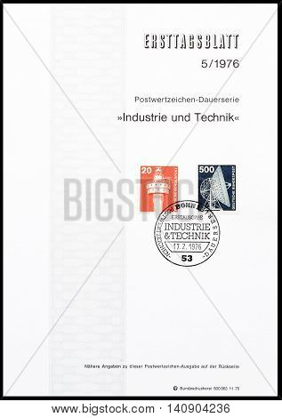 GERMANY - CIRCA 1976 : Cancelled First Day Sheet printed by Germany, that shows Lighthouse and satellite dish.