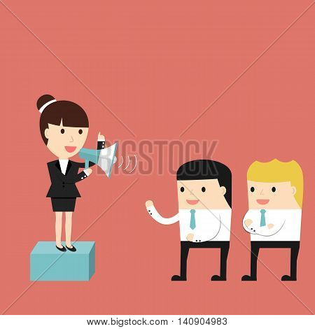 Businesswoman delivers a speech in front of subordinates. Vector illustration.