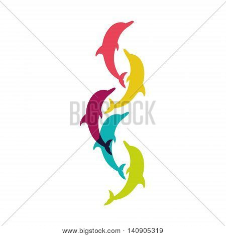 Set of silhouettes of dolphin. Two lovers Dolphin. Vector silhouette on a white background.