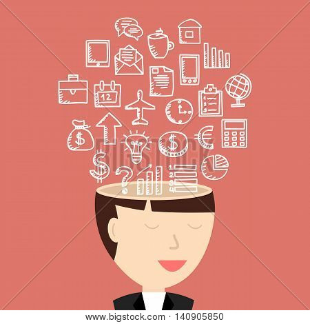 The mind of a businesswoman. Vector illustration.