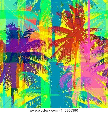 tropical seamless pattern depicting pink and purple palm trees with with yellow highlights reflections on a turquoise background in in psychedelic colors