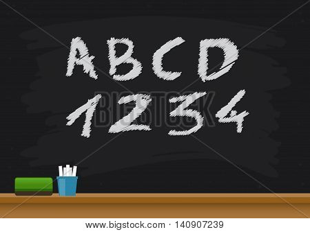 Vector stock of blackboard with alphabets and numbers