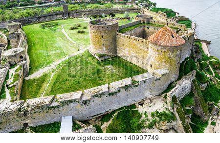 Old fortress in Belgorod-Dniester, Ukraine, aerial photo