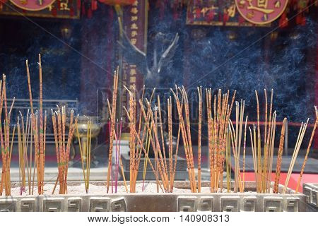 Incense sticks burning in Wong Tai Sin temple, Hong Kong S.A.R.