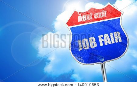 job fair, 3D rendering, blue street sign