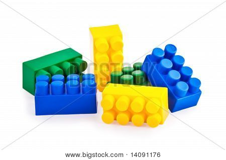 Colorful blocks isolated on white background poster