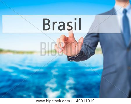 Brasil - Businessman Hand Touch  Button On Virtual  Screen Interface