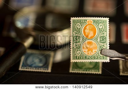 Stamp collector holding a valuable stamp with tweezers and magnifying glass in background