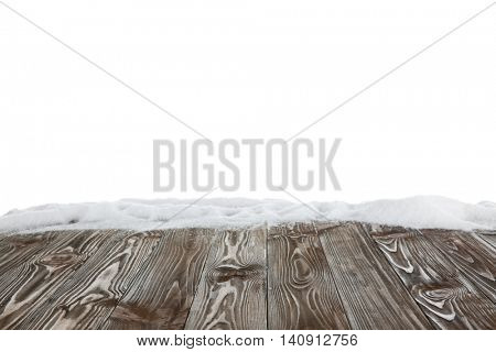 Wood floor texture covered with snow on white background
