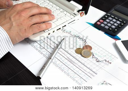 Coins lying on the desk. Conception of investing in the foreign exchange market.