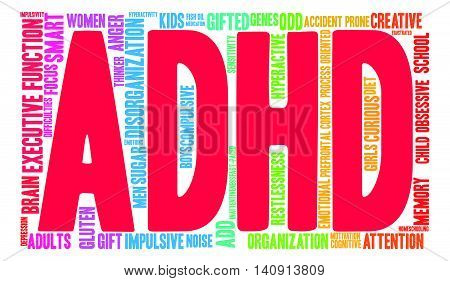 ADHD multicolored word cloud on a white background.