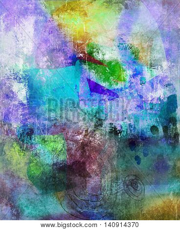 abstract and decorative contemporary mixed media artwork