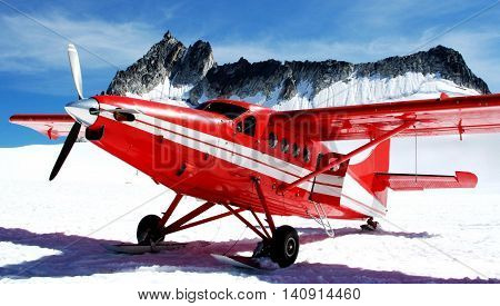 A plane that has landed on a Glacier in Alaska