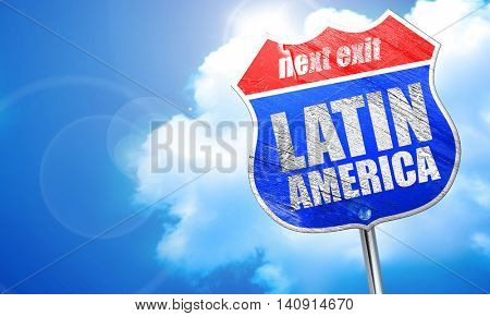 latin america, 3D rendering, blue street sign