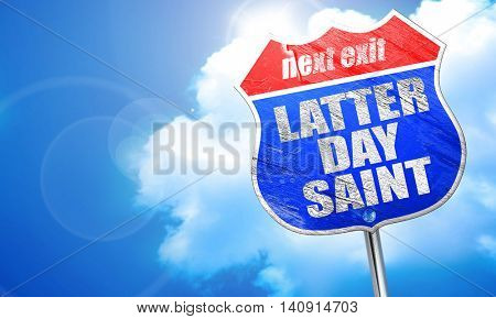 latter day saint, 3D rendering, blue street sign