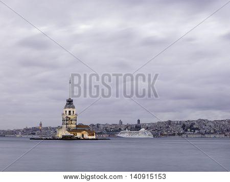 Maiden's Tower at Istanbul bosphorus in Turkey