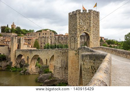 Gate and bridge to the Besalu medieval village in Catalonia, Spain