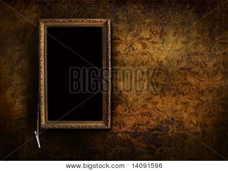 Old menu board with grungy floral background effect