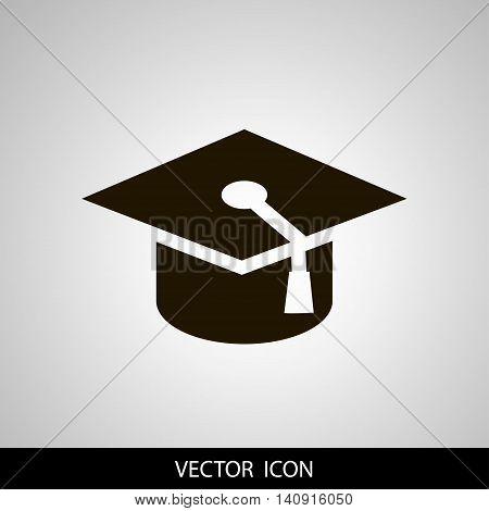 graduation cap icon vector illustration. Flat design style