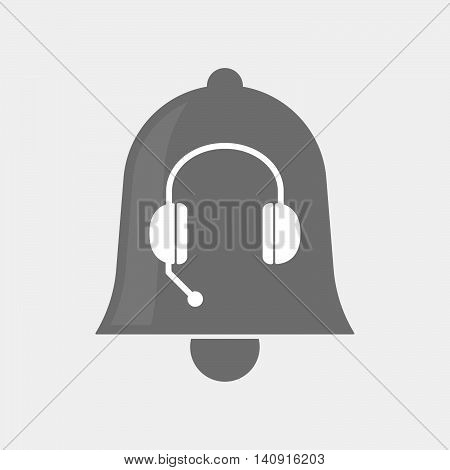 Isolated Bell Icon With  A Hands Free Phone Device