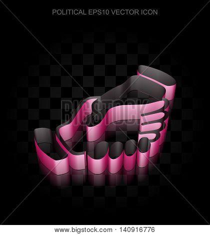 Politics icon: Crimson 3d Handshake made of paper tape on black background, transparent shadow, EPS 10 vector illustration.