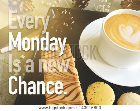 Every monday is a new chance motivation concept