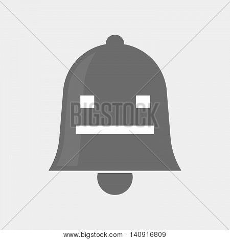 Isolated Bell Icon With A Emotionless Text Face