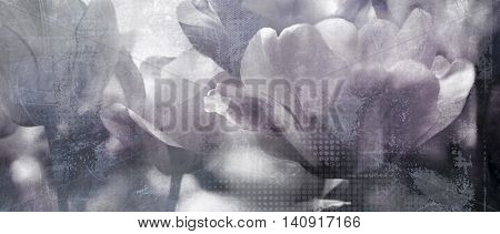 tulips toned with added different textures mourning card vintage concept