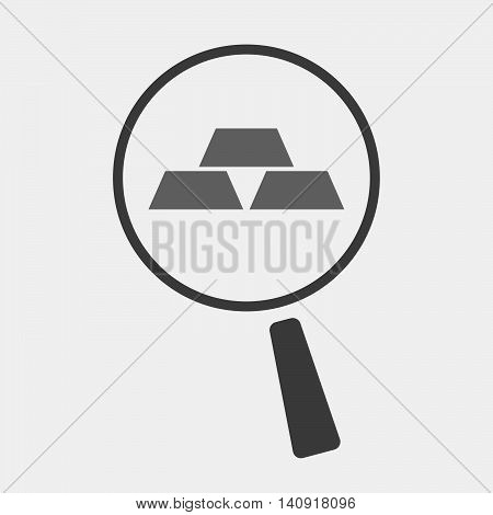 Isolated Magnifier Icon With Three Gold Bullions