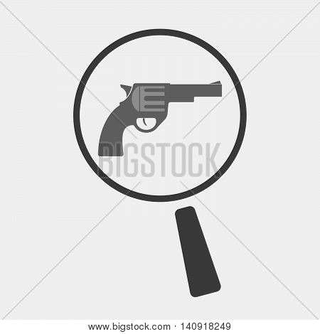 Isolated Magnifier Icon With A Gun