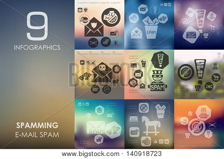 spamming vector infographics with unfocused blurred background