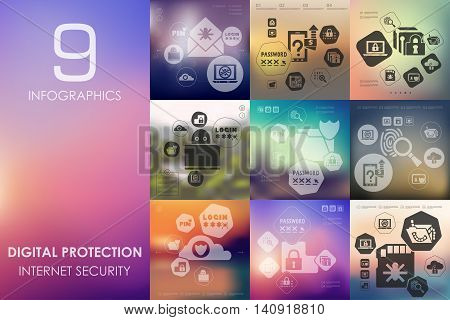 digital protection vector infographics with unfocused blurred background