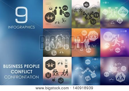 business people conflict vector infographics with unfocused blurred background
