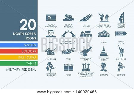 North Korea vector set of modern simple icons