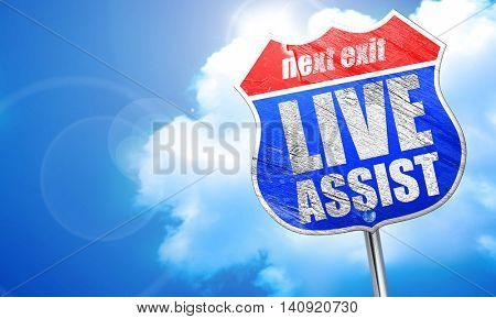 live assist, 3D rendering, blue street sign