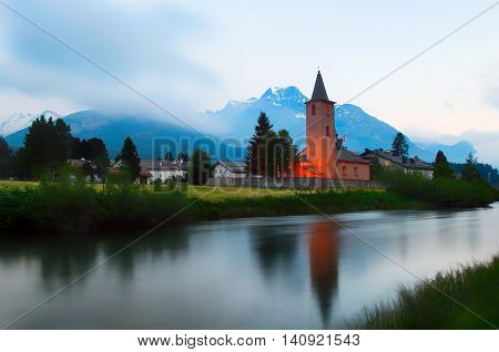 Church of the Swiss village of Sils Maria in the Engadine valley. German philosopher Friedrich Nietzsche lived during the summers of 1881 and 1883 to 1888