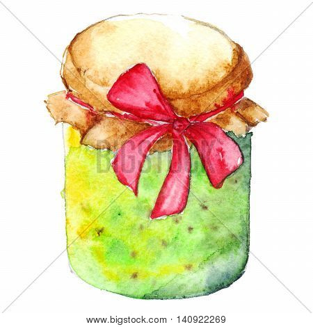 Watercolor gooseberry jam confiture jar bow isolated